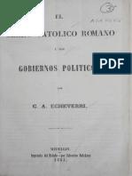 ECHEVERRI_El Clero Catolico Romano y Los Gobiernos Politicos