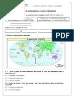 Teste de Geografia 4º Ano