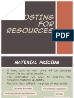 Costing for Resources