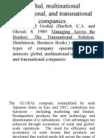 Global Multinational International and Transnational Companies