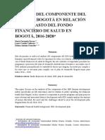 Análisis de Los Componentes Del Idh Para Bogotá en Relación Con El Gasto Del Fondo Financiero de Salud