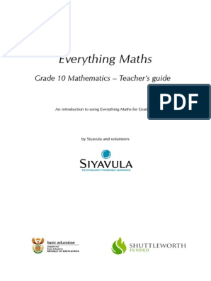 Grade 10 Maths Teacher Guide | Physics & Mathematics | Mathematics