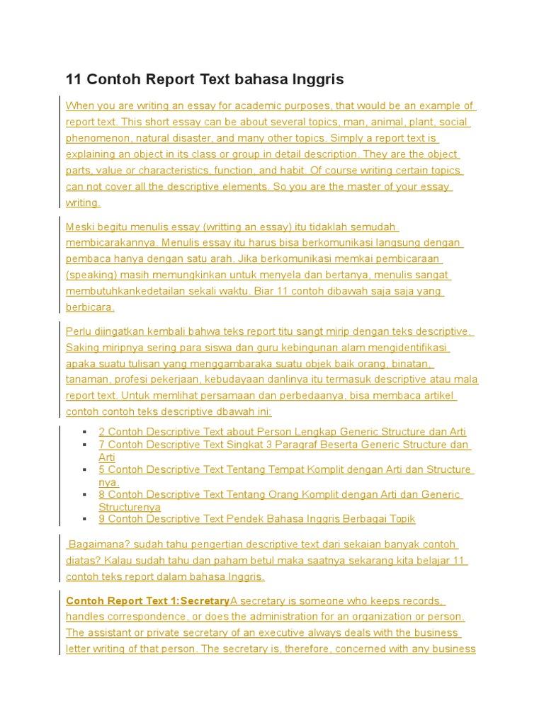 Contoh Teks Report Dalam Bahasa Inggris Tentang Bencana Alam Berbagai Teks Penting