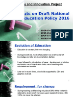 Inputs on Draft National Education Policy 2016