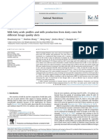 Milk fatty acids pro fi les and milk production from dairy cows fed different forage quality diets