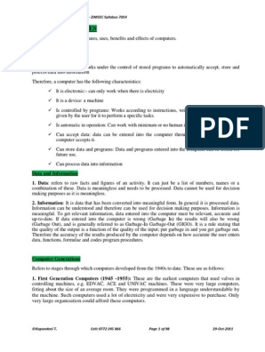 O Level Computer Studies Notes - ZIMSEC Syllabus pdf | Computer Data