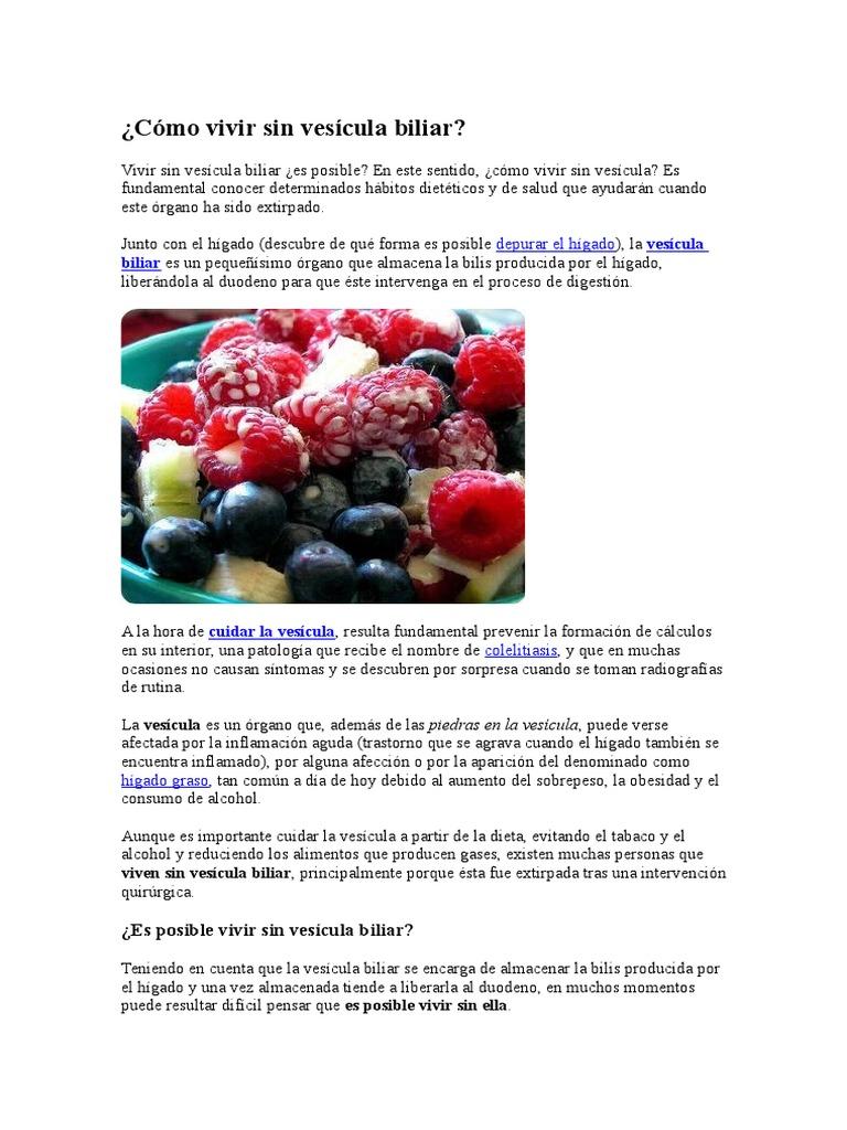 Dieta para una persona sin vesicula biliar