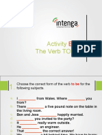 Activity for the Verb to Be.