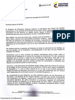 Carta Del Ministerio de Educación Nacional