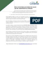 CONALVÍAS CUMPLE CON ENTREGA DE OBRAS DE CALLES DE RODAJE DEL AEROPUERTO EL DORADO