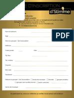 Formulaire d'inscription D'Stimme