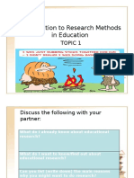 Topic 1 Introduction to Educational Research