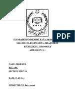 Eng. Econmomics Assignment # 1
