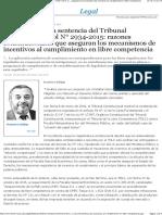 Comentario de La Sentencia Del Tribunal Constitucional Rol 2934-2015, Razones Constitucionales Que Aseguran Los Mecanismos de Incentivos Al Cumplimiento en Libre Competencia - EML
