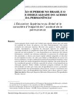 A Educação Superior No Brasil e o Caráter de Desigualdade Do Acesso e Da Permanência