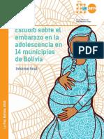 Estudio Sobre Embarazo Adolescente Muestra Pequeña en 14 Municipios de Bolivia