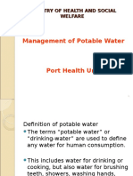 Management of Potable Water