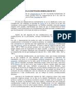 Características de La Constitución Venezolana de 1811 Hasta Hoy