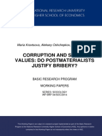 Corruption and Social Values Do Postmaterialists Justify Bribery