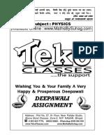 Class 11 Diwali Assignment Physics Solution