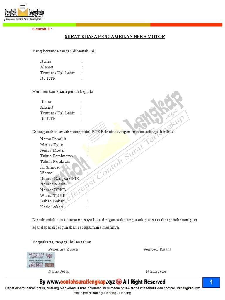 Contoh Surat Kuasa Pengambilan BPKB STNK Motor Mobil