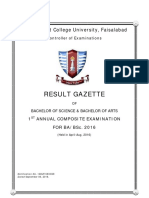 1st Annual Composite Examination for BA BSc 2016