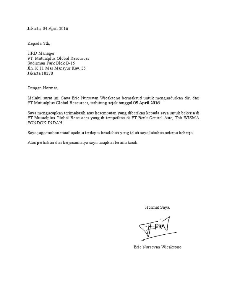 Surat Resign Eric Nursevan Wicaksono