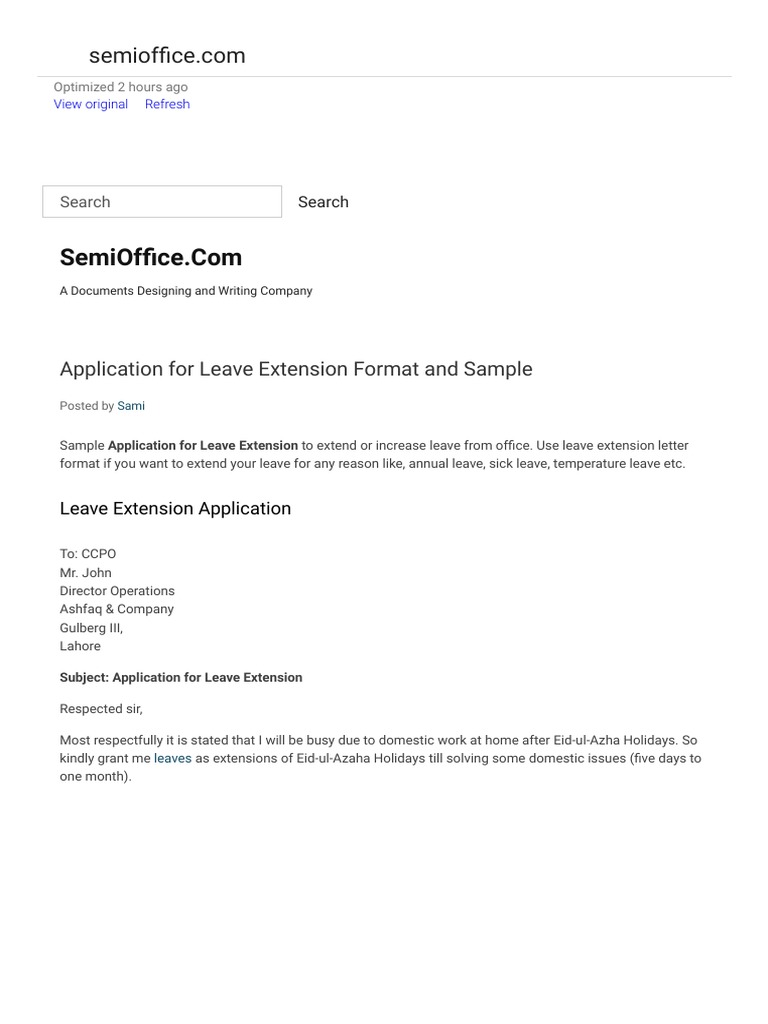 Application For Leave Extension Format And Sample Cyberspace