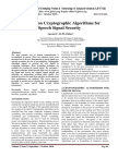 A Review on Cryptographic Algorithms for Speech Signal Security