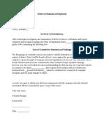 Notice of Dismissal of Employee