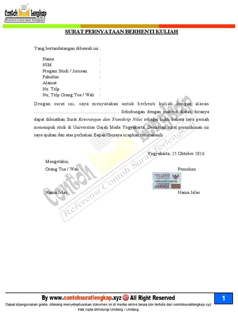Contoh Surat Pengunduran Diri Mahasiswa
