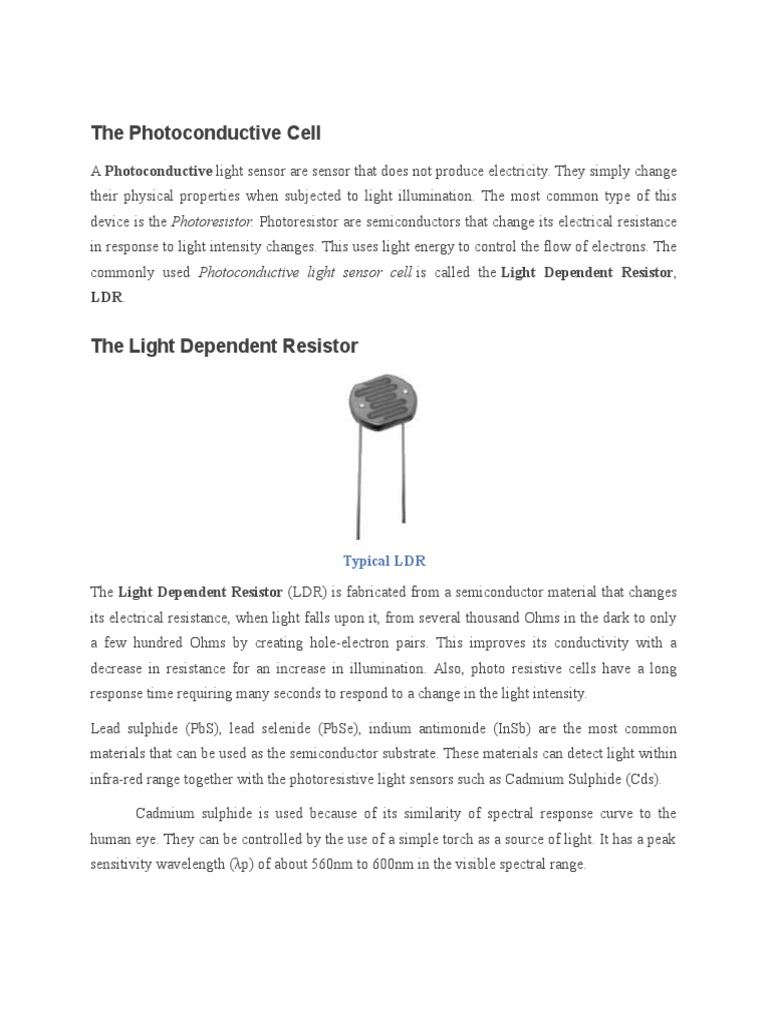 The Photoconductive Cell | Electromagnetism | Electricity