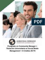 Postgrado en Community Manager + Titulación Universitaria en Social Media Management + 4 Créditos ECTS