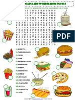 Fast Food Esl Vocabulary Wordsearch Puzzle Worksheet