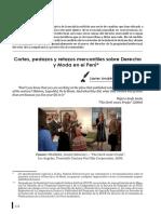 Cortes, Pedazos y Retazos Mercantiles Sobre Derecho y Moda en El Perú