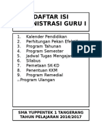 Daftar Isi Administrasi Guru