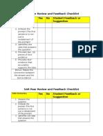 sar peer review and feedback checklist