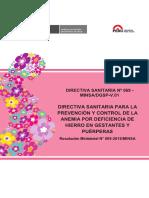 Ds 069 Directiva Sanitaria Para La Prevencion y Control de La Anemia Por Deficiencia de Hierro en Gestantes y Puerperas Rm 069 2016 Minsa v01