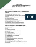 PROGRAMA de Derecho Administrativo - Grado en Trabajo Social 2011-2012