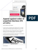 Appeal Against Order of Acquittal (Section 378 of CrPc)