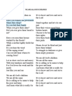 We Are All God's Children Lyrics and Chords