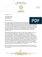 Dallas Mayor Letter from Dan Flynn