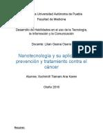 Nanotecnología y su aplicación, prevención y tratamiento contra el cáncer.