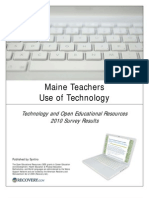 Oer Survey Report 2010 Maine Teachers Use of Technology