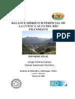 BALANCE HÍDRICO SUPERFICIAL DE LA CUENCA PILCOMAYO