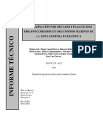 CONTAMINACIÓN POR METALES Y PLAGUICIDAS, COSTERA PATAGÓNICA
