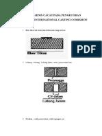 CACAT-CACAT PENGECORAN MENURUT INTERNATIONAL CASTING COMISSION.docx