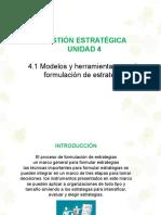 4.1 Modelos y Herramientas Para La Formulación de Estrategia