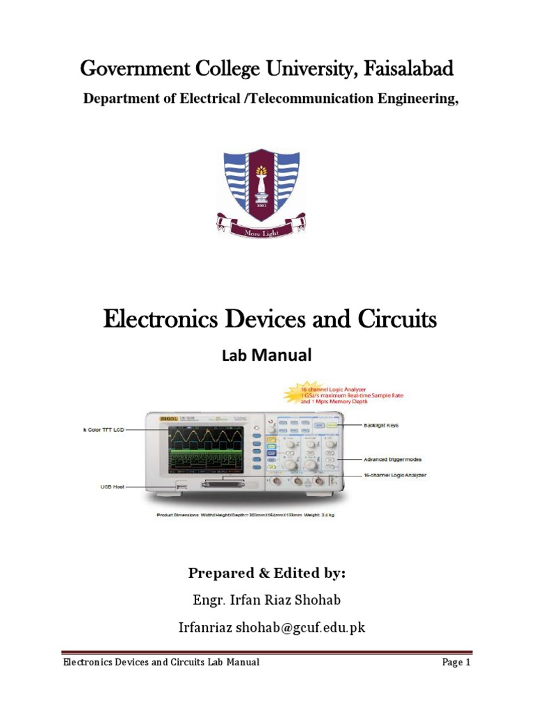 Lab Manual Electronic Devices and Circuits Practical 2 | Diode | P–N  Junction
