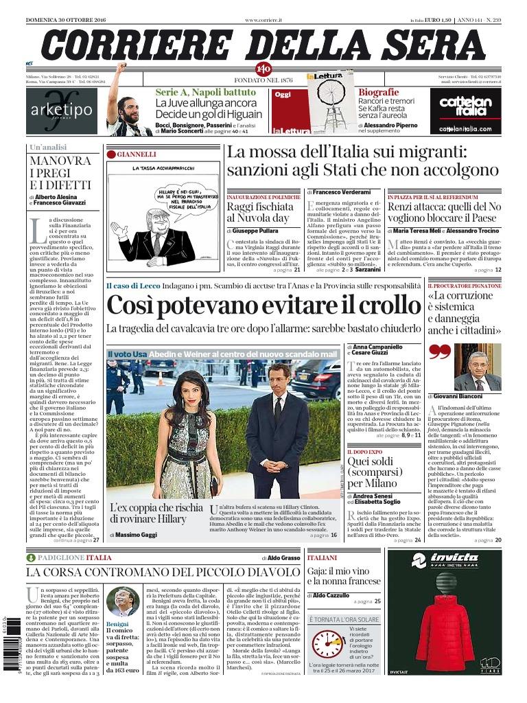 new arrival 0a3a5 532ea Il Corriere Della Sera - 30-10-2016